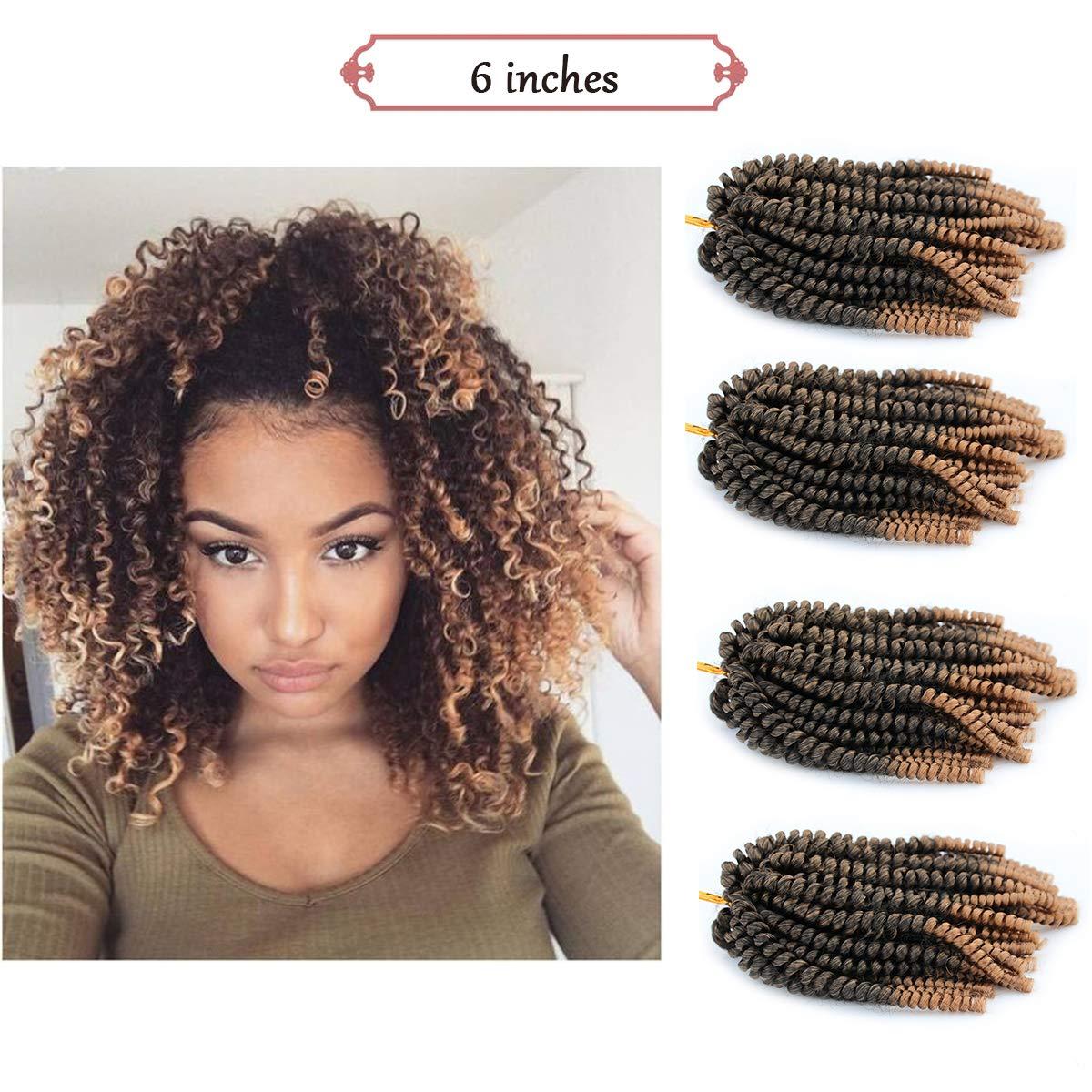Amazoncom 4pcs Spring Twist Crochet Braiding Hair 6 Inch Ombre