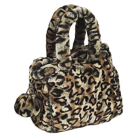 Borsa leopardata con manici