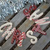 Chic Shabby Christmas Wooden Garland Red White Vintage Country Style Decoration