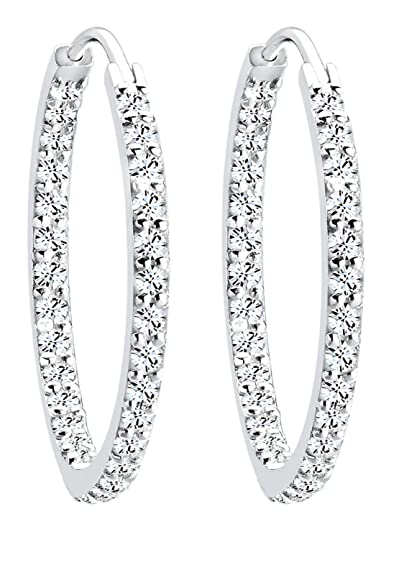 Elli Women's 925 Sterling Silver Xilion Cut Swarovski Crystal Hoop Earrings zDDJb