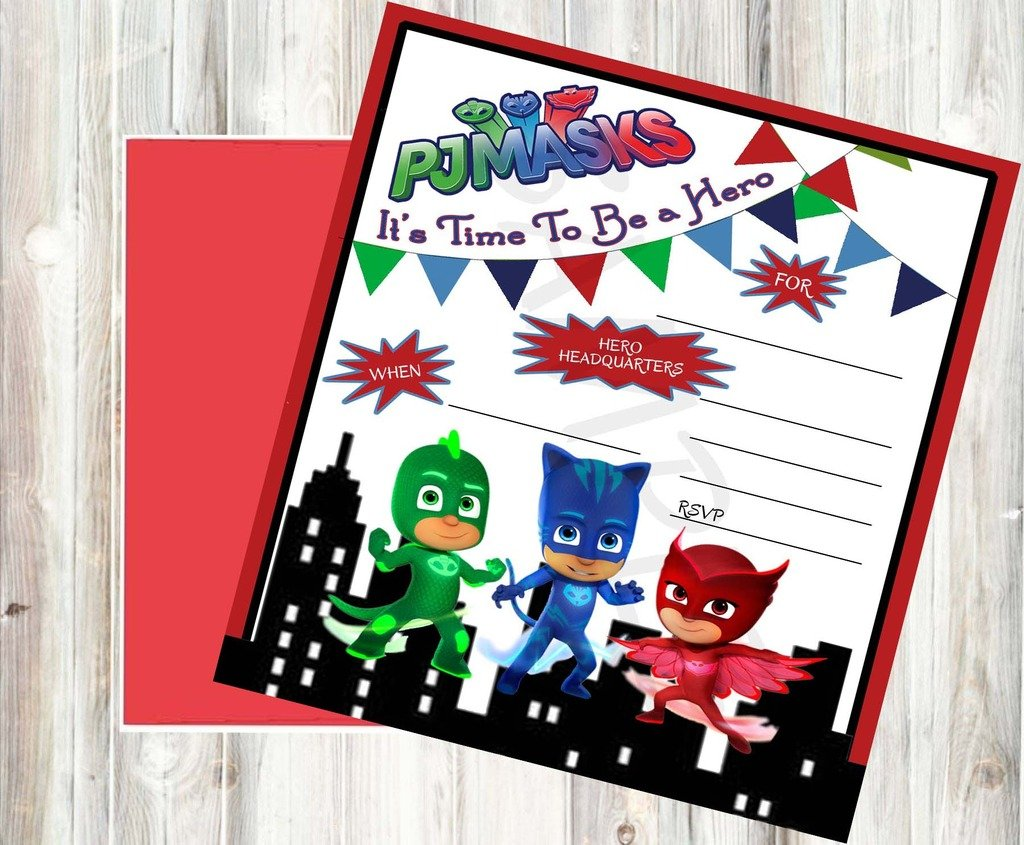Amazoncom PJ Mask Party Supplies Party Game Grocery Gourmet - Pj masks invitation template free