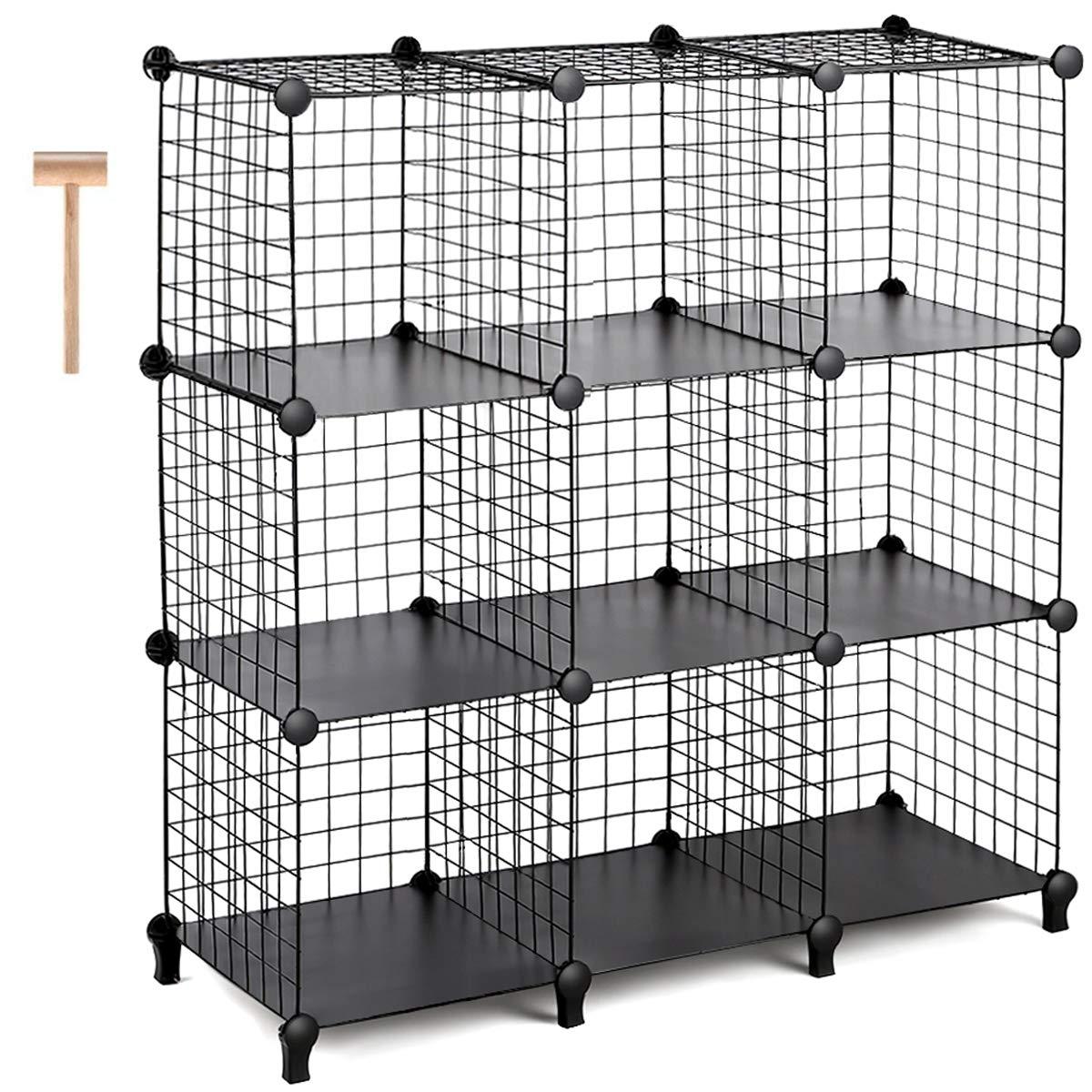 TomCare Cube Storage 9-Cube Metal Wire Cube Storage Storage Cubes Shelves Cube Closet Organizer Stackable Storage Bins DIY Storage Grids Modular Wire Cubes Bookshelf Bookcase for Home Office, Black