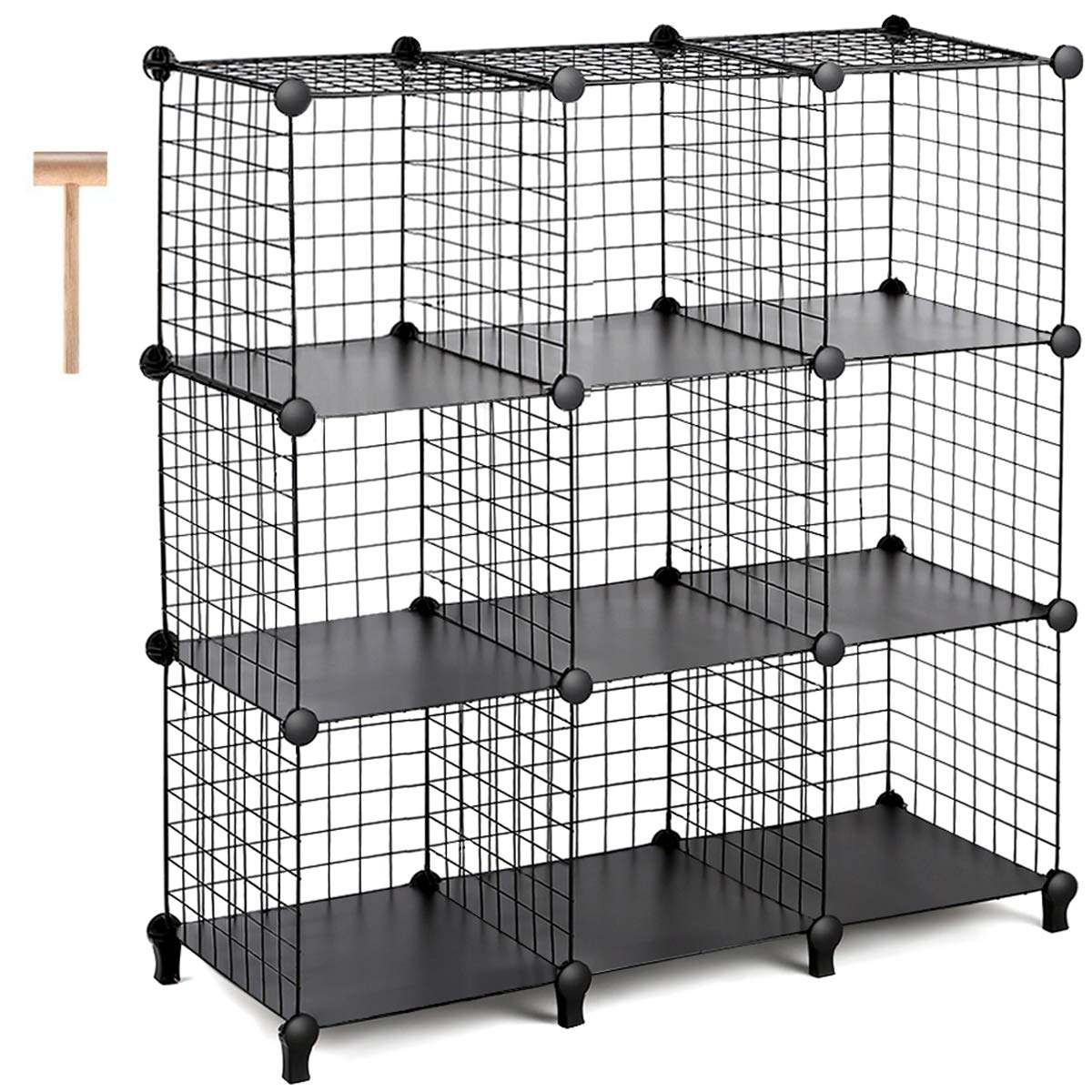 TomCare Cube Storage 9-Cube Metal Wire Cube Storage Storage Cubes Shelves Cube Closet Organizer Stackable Storage Bins DIY Storage Grids Modular Wire Cubes Bookshelf Bookcase for Home Office, Black by TomCare
