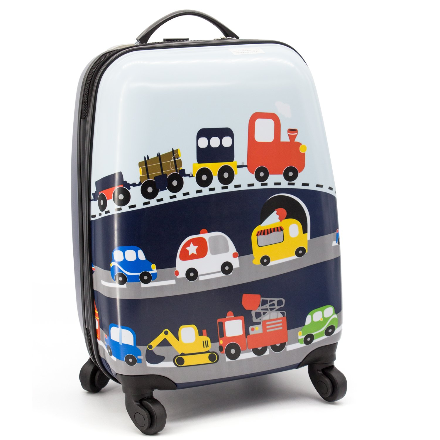Lttxin cute kids suitcase pull along boys travelling with 4 wheel hard shell 16 inch veholes