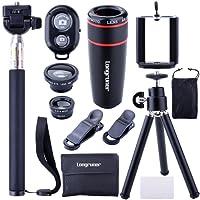 Longruner 10 in 1 Mini Lens Kit 8 x Telephoto Lens + Fish Eye Lens + Wide Angle + Macro Lens Selfie Stick Monopod + Bluetooth Remote Control + Mini Tripod with a 6 Slots Case LA02