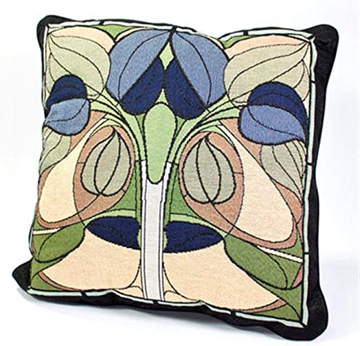 Rennie Rose Collection 18-Inch Stuffed Pillow, Art Nouveau Floral Window