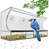 Premium Fenster Vogelfutterspender - AnTom Vogelhäuschen mit Abnehmbarem Tablett, Ablasslöcher und 3 Saugnäpfe - Groß, Transparent