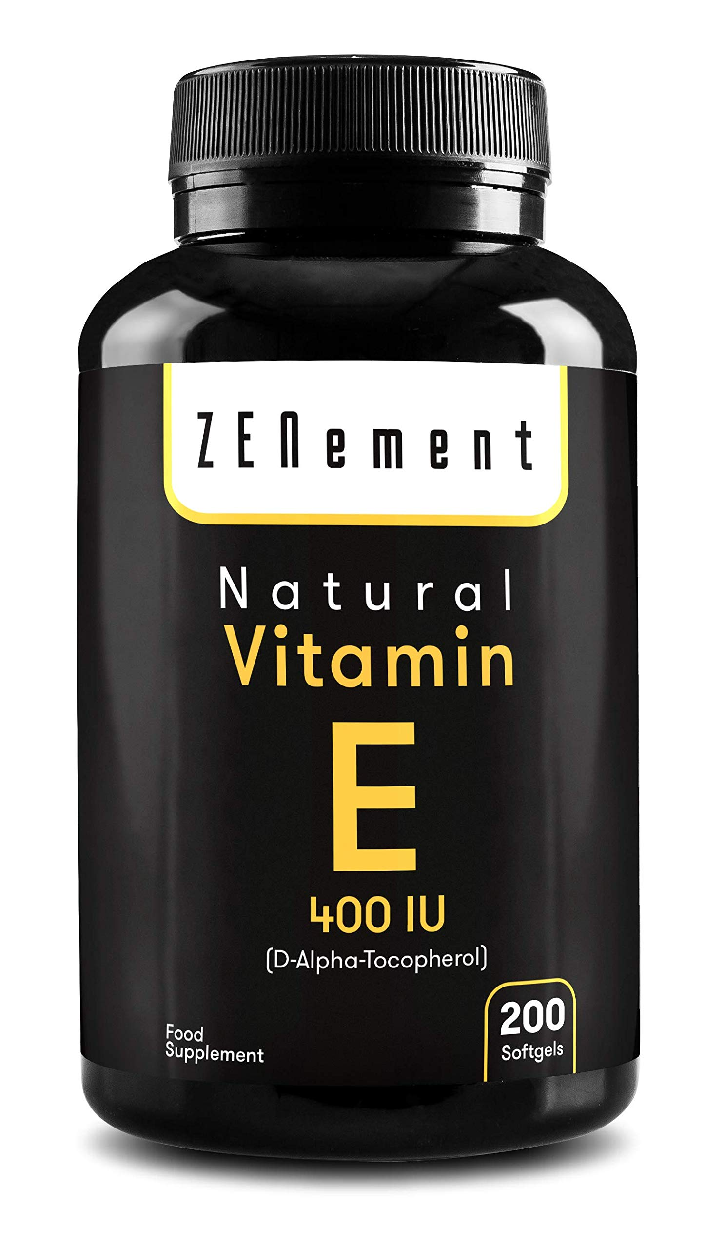 Natural Vitamin E - 400 IU (D-Alpha-Tocopherol) | 200 Softgels: More Than 6 Month Supply | Antioxidant That Protect Cells from Damage | Non-GMO | by Zenement