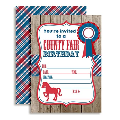 Amanda Creation County Fair With A Horse Birthday Party Fill In Invitations Set Of 20