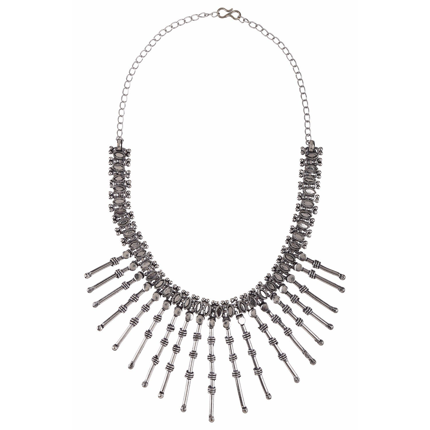 Efulgenz Indian Vintage Retro Ethnic Gypsy Oxidized Silver Tone Boho Necklace Jewellery for Girls and Women Gift for Her