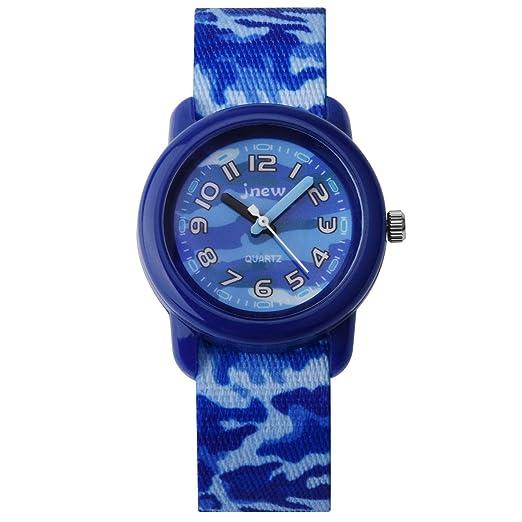 Reloj para niños Reloj para niños Niña Reloj Zeiger para niñas Reloj para niña Reloj pedagógico Hora de Lectura fácil Nylon KW122 Camuflaje Azul: Amazon.es: ...