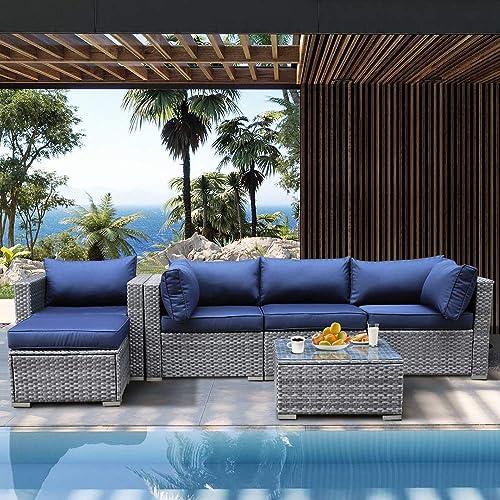 Patio Furniture 6-Piece PE Rattan Sofa Garden Couch Gray PE Wicker Navy Blue Cushion