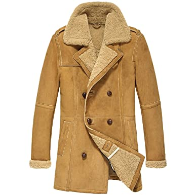 1c4f3cf73b7 CWMALLS Men's Shearling Sheepskin Coat Double Breasted CW878265 ...