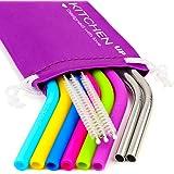 REGULAR SIZE Silicone Straws for 30 oz Tumbler & Stainless Steel Straws Bundle - 6 Silicone Straws for Yeti / Rtic / Ozark + 2 Brushes + 2 Metal Straws - Reusable Straws Extra Long + 1 Storage Pouch