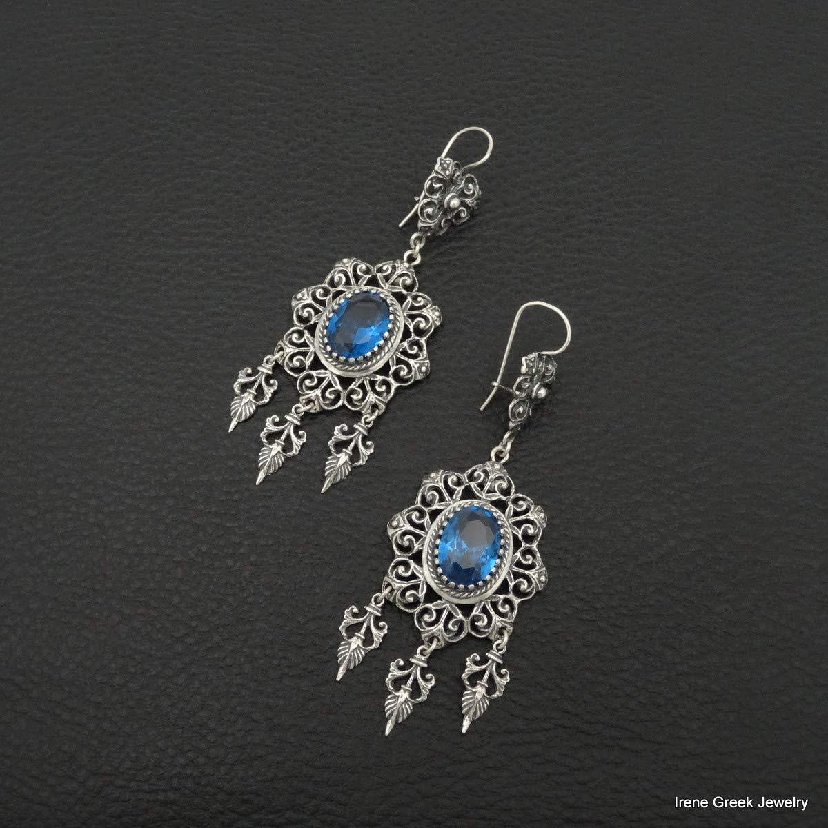 Blue Topaz Cz Earrings Filigree Style 925 Sterling Silver Greek Handmade Art Big Luxury