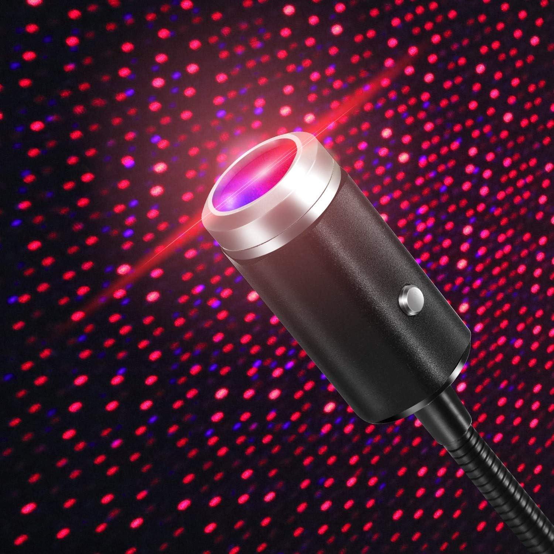 Schlafzimmer 2 Farben USB Sternenlichtprojektor mit 7 Funktionsmodellen Party Decke Rot/&Lila Einstellbar romantischen Innenraum Autodachlichtern,USB Nachtlicht Dekorationen f/ür Auto
