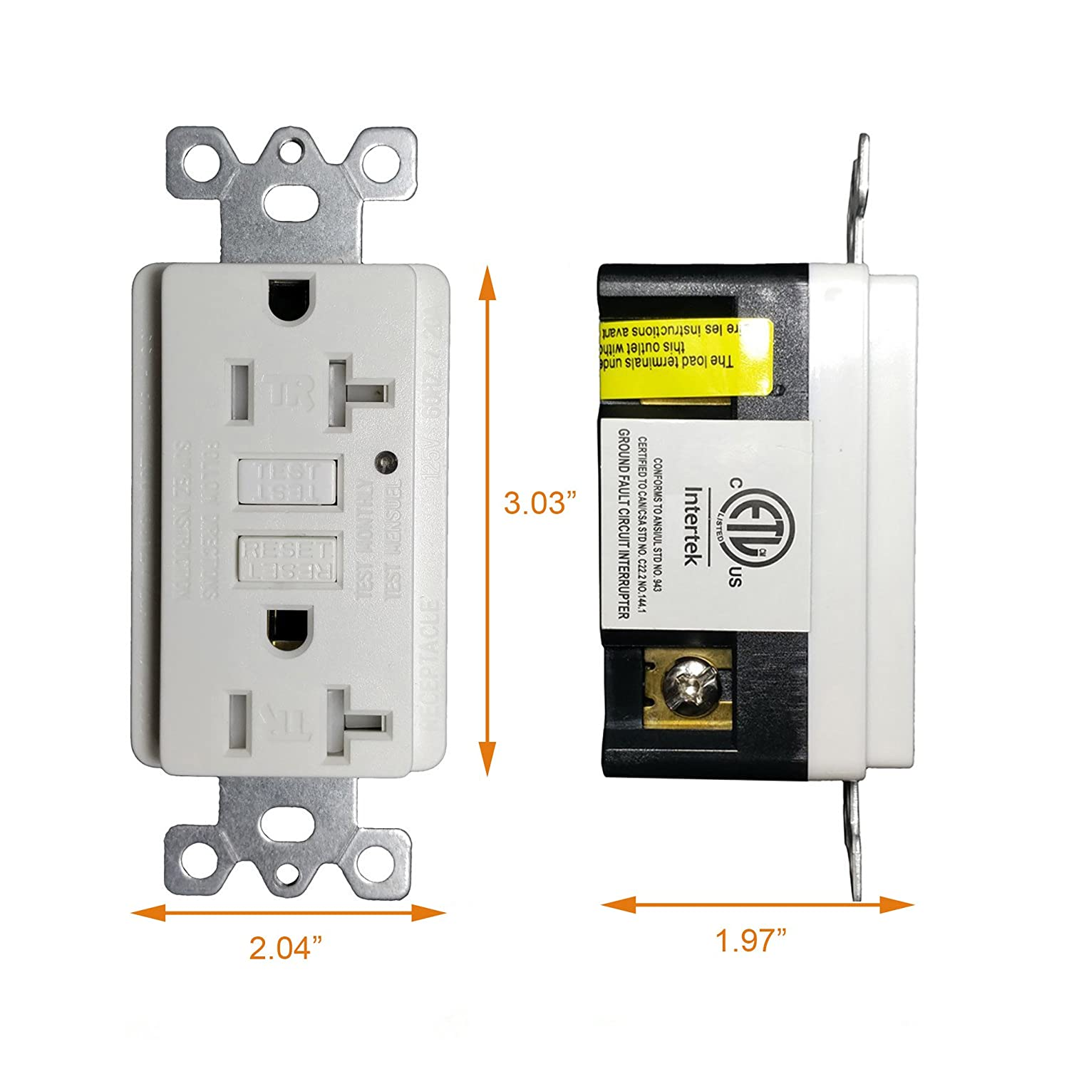 Gfci Outlet 20 Amp Tamper Resistant Receptacle With Led Indicator Breaker What Should Be Used A Or Is 15 125 Volt Wallplate And Screws