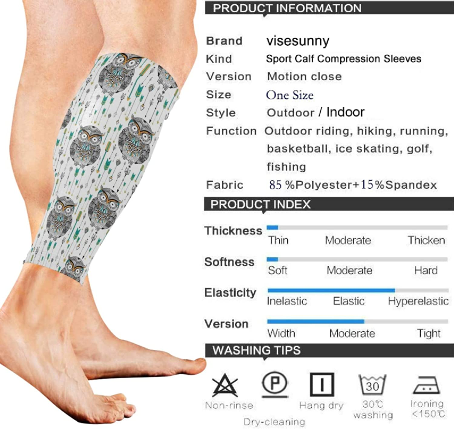 visesunny Boho Style Owl Sports Calf Support Sleeves for Muscle Pain Relief, Improved Circulation Compression – Effective Support for Running, Jogging, Workout (1 Pair)
