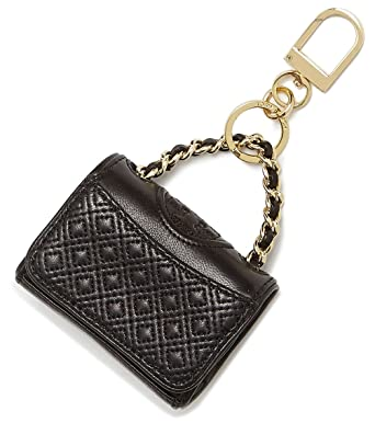 79d7bcfa49ae Image Unavailable. Image not available for. Color  Tory Burch Fleming Bag  Charm Tote Leather Key Fob Keychain TB Logo ...