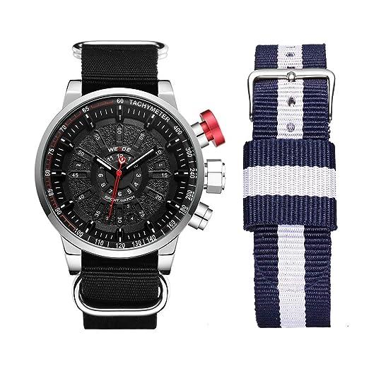 WEIDE - Reloj analógico de Cuarzo para Hombre con Fecha LED y Correa de Nailon Intercambiable: Amazon.es: Relojes