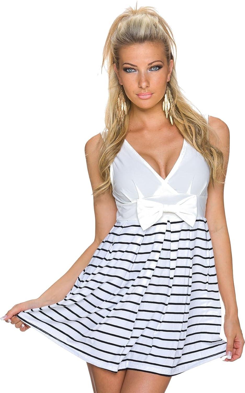 Damen Kleid Sommerkleid Cocktailkleid Partykleid Strandkleid Streifen Uni Zierschleife V-Ausschnitt Reißverschluss