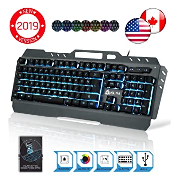 35524b39df1 ⭐️KLIM™ Lightning Gaming Keyboard - Wired USB Semi Mechanical - 7 Different  LED Colors - Metal Frame - Ergonomic, Quiet - PC PS4 Windows Mac Keyboards  ...