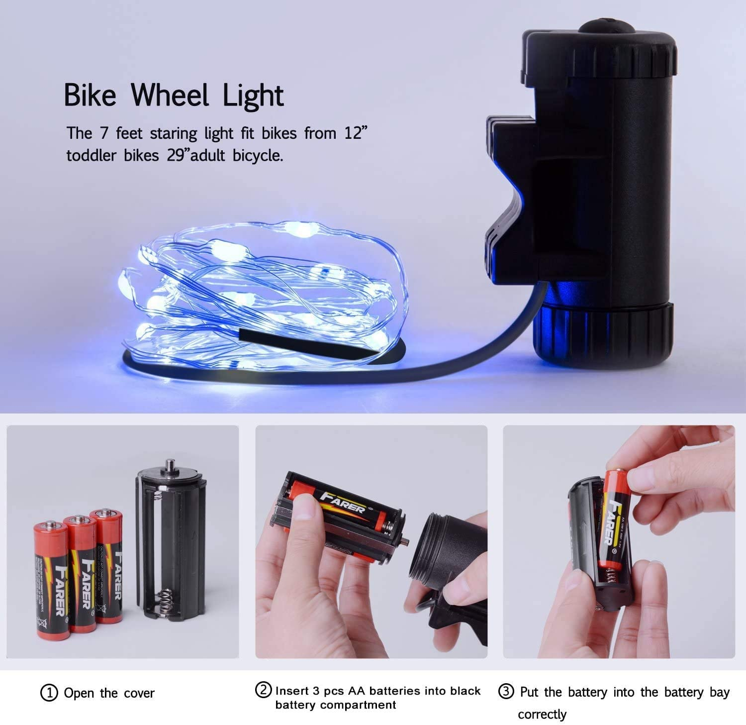 7 Colors in 1 Bike Lights,Safety at Night,Switch 9 Modes LED Bike Accessories Lights Evaduol Bike Wheel Lights USB Rechargeable 1 Pack