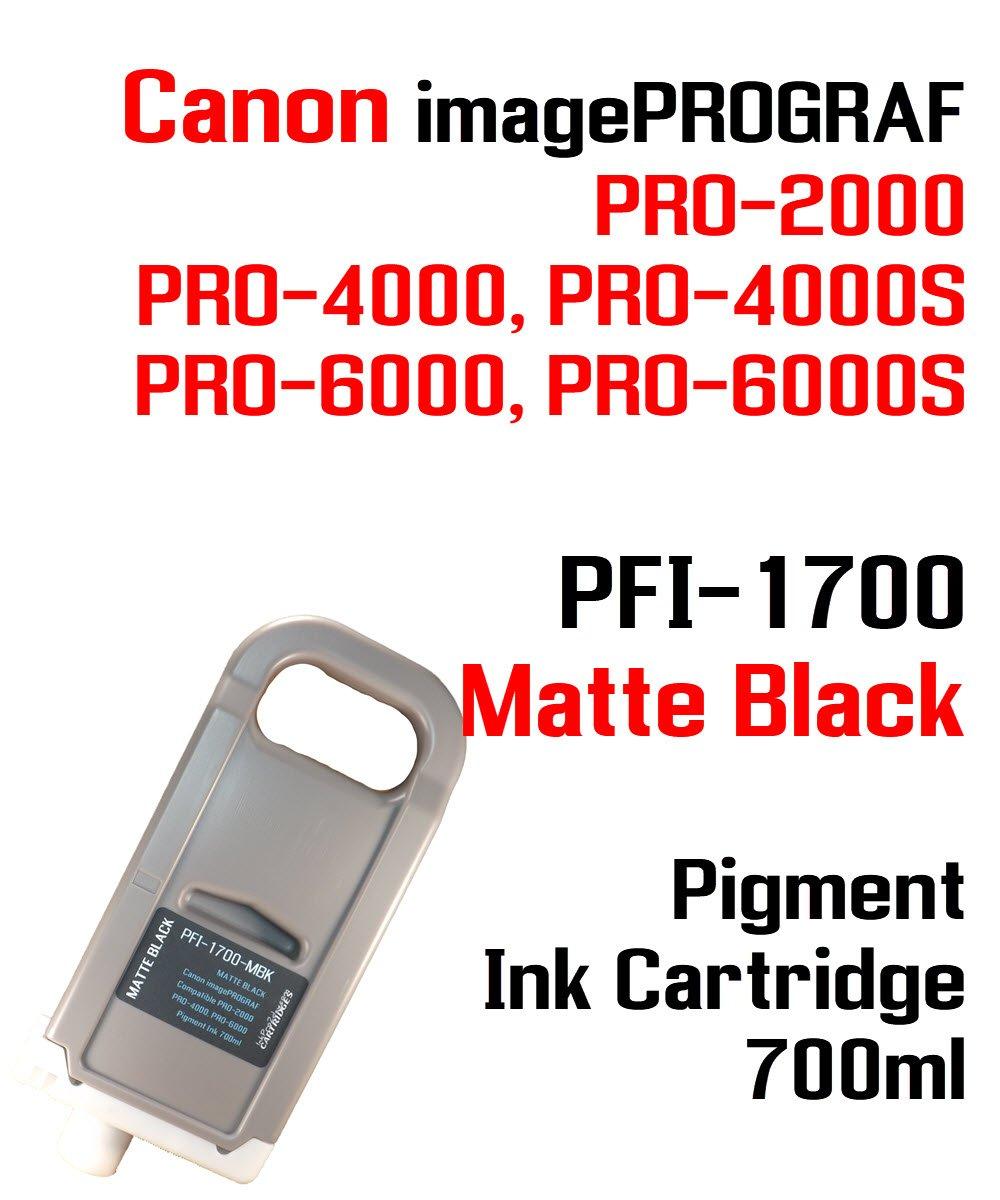 Canon Imageprograf pro-2000 pro-4000 pro-4000s pro-6000 pro-6000sマットブラックpfi-1700互換顔料インクカートリッジ700 ml 100 %互換インク B07CJN5PY5
