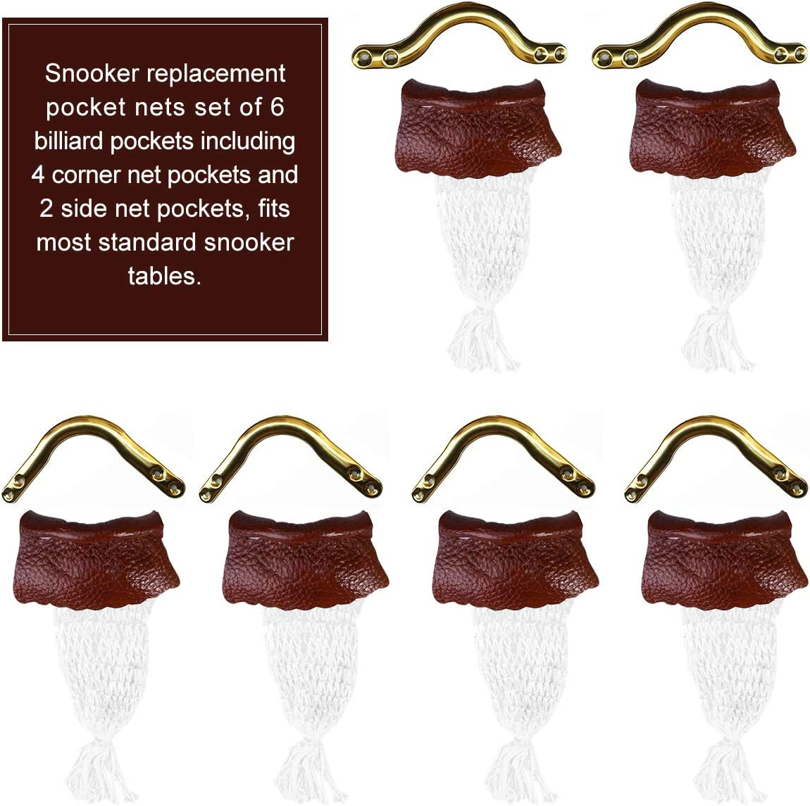 6Pc Leather Snooker Table Net Pockets Billiard Pocket Net Replacement Ball Bags