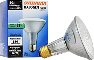 SYLVANIA 16156 6-pack Capsylite Long Neck Halogen Bulb Dimmable / PAR30 Reflector Wide Flood Light (50W replacement) / Medium Base E26 / 39 W / 2850K – warm white