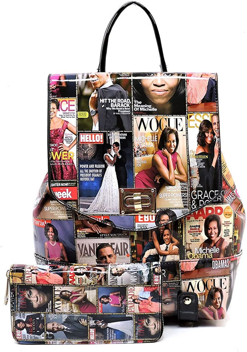Obama Magazine Print Collection Flap Backpack Wallet