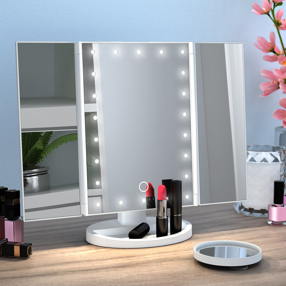 Amazon.com : Ovonni Vanity Makeup Mirror Trifold 21 LED Lighted with ...