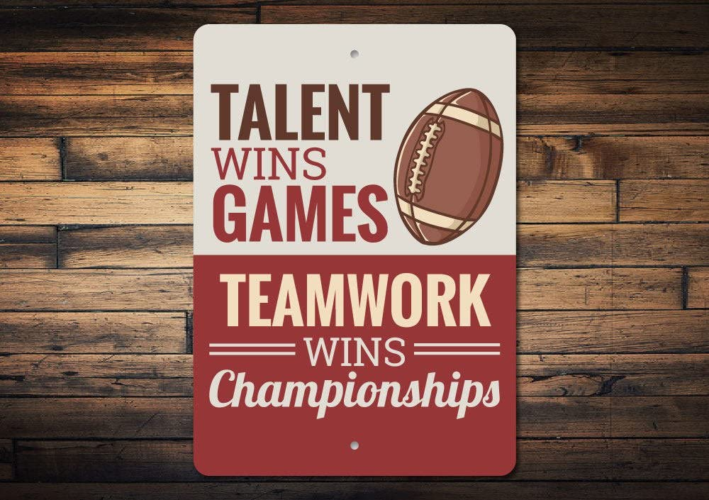 Promini Metal Sign for Wall Decor,Sports Quote Sign, Teamwork Sign, Locker Room Decor, Locker Room Sign, Team Gift, Team Sign, Championship Sign, Quality Metal Football Sign 12x18 Inches