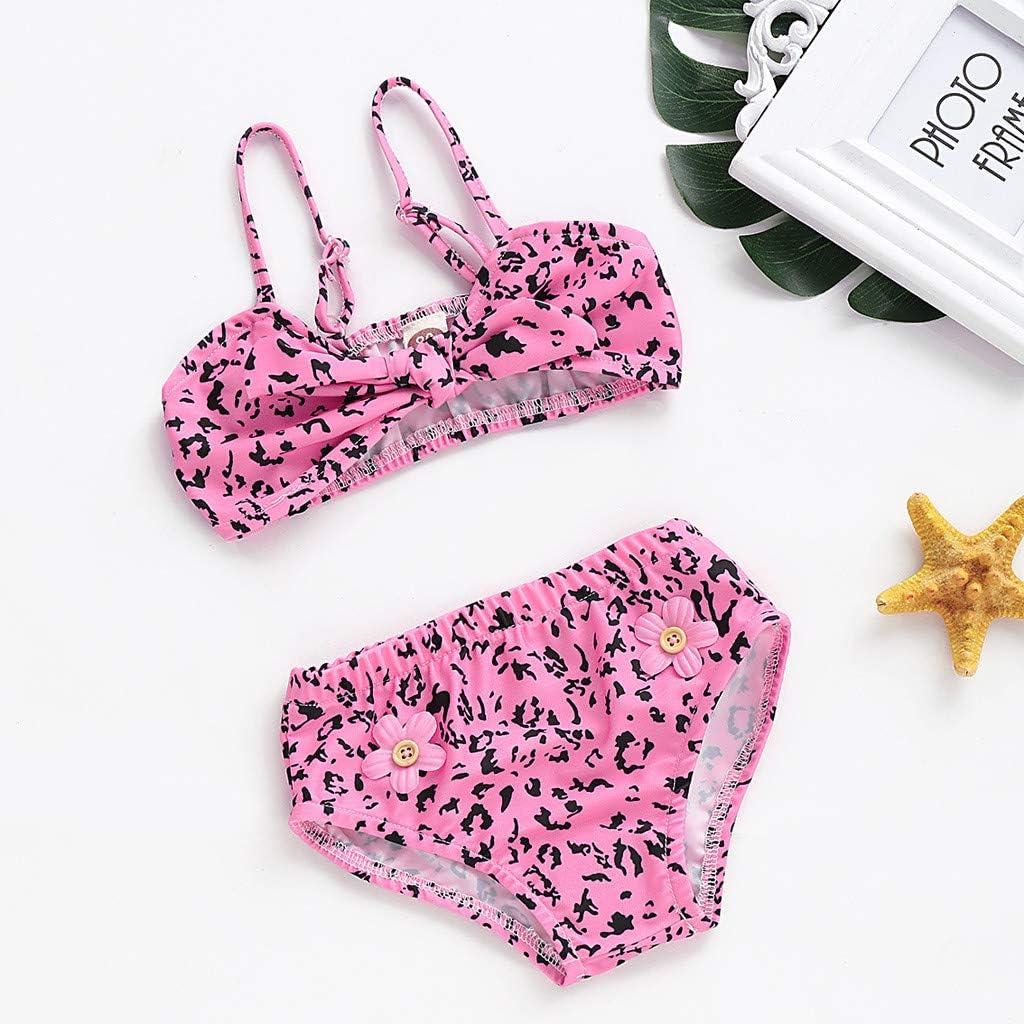 TEVEQ Kids Girl Baby Swimwear Leopard Printed Bow Bikini Swimsuit Beach Set