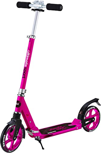 New Bounce Foldable GoScoot Ultimate, 2 Wheel Kick Scooter for Kids Portable Outdoor Toy with Adjustable Height for Children and Teens Deluxe Design for Girls Boys in Pink, Blue and Black