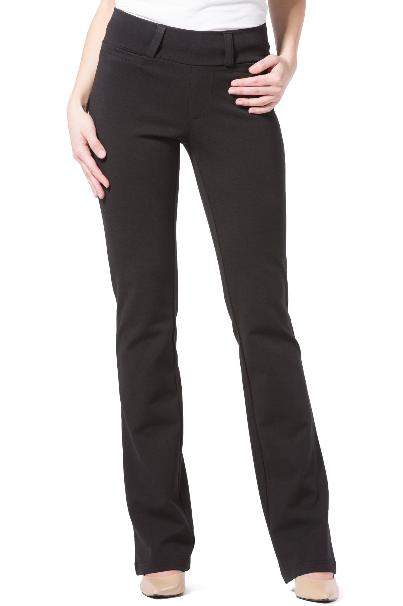Fishers Finery Women's Ponte Boot Leg Dress Pant; Pull On (Black, M Petite) by Fishers Finery (Image #5)