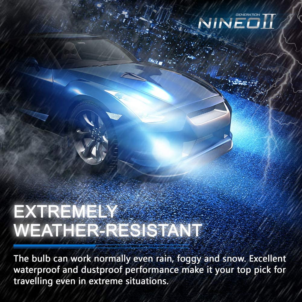 NINEO 5202 LED Fog Light Bulbs H16 European version 2800LM Extremely Bright All-in-One Conversion Kit 5530 Chips 6500K Cool White