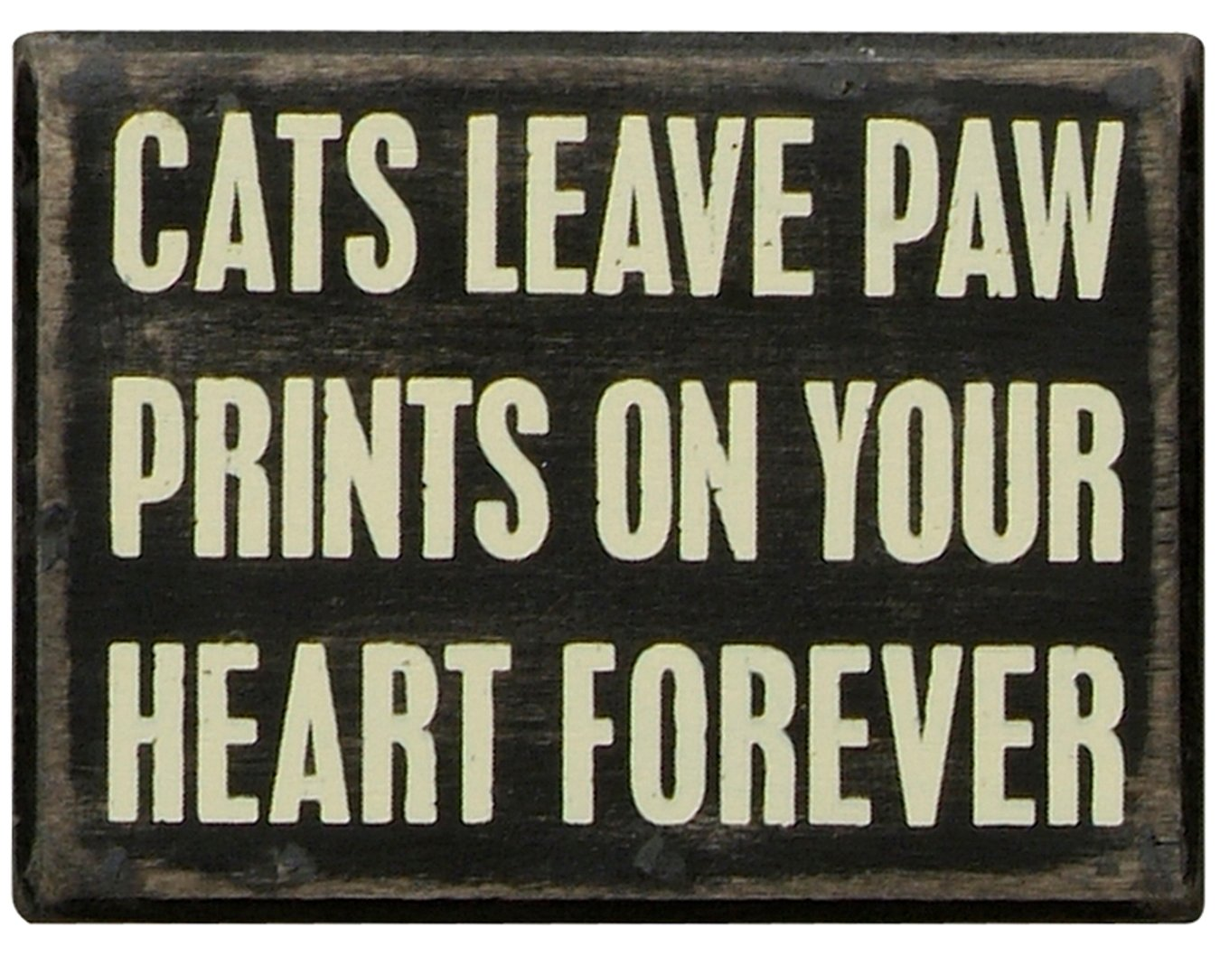 """Primitives by Kathy Classic Box Sign, 4"""" x 3"""", Cats Leave Paw Prints"""