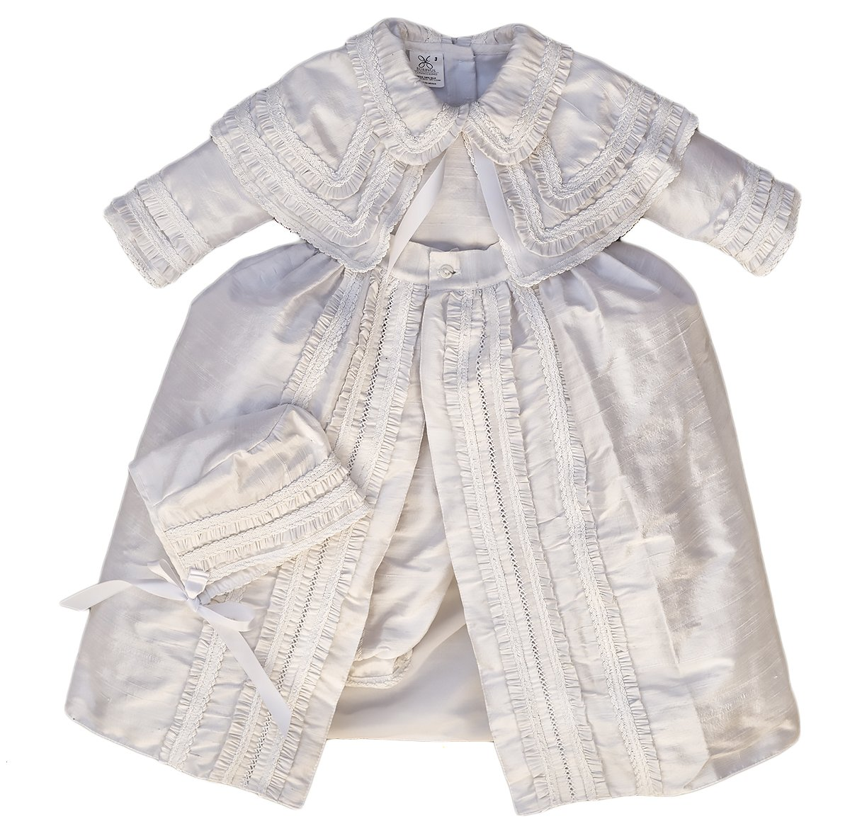 Heirloom Baby Boy's Christening Baptism Gown, Hand Made White Burbvus Ropones by Burbvus (Image #1)