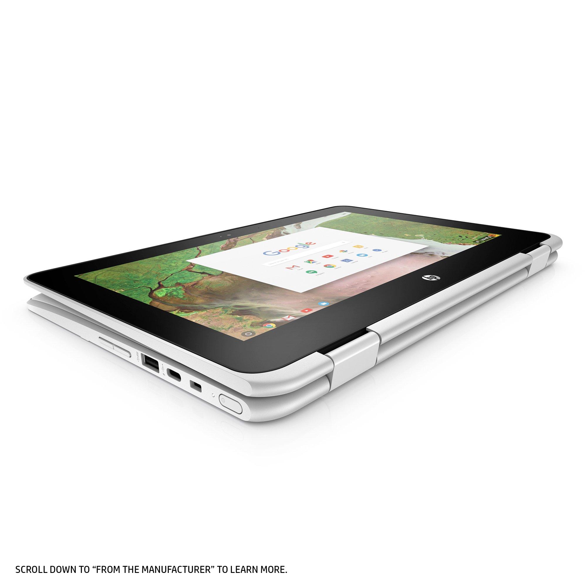 HP Chromebook x360 11-inch Convertible Laptop, Intel Celeron N3350, 4GB RAM, 32GB eMMC storage, Chrome OS (11-ae040nr, White) by HP (Image #4)