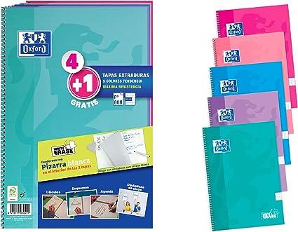 Pack 4+1 Cuadernos Folio(A4) Oxford. Tapa Extradura Write&Erase. 80 Hojas cuadrícula 4x4. Surtido tendencia: Amazon.es: Oficina y papelería