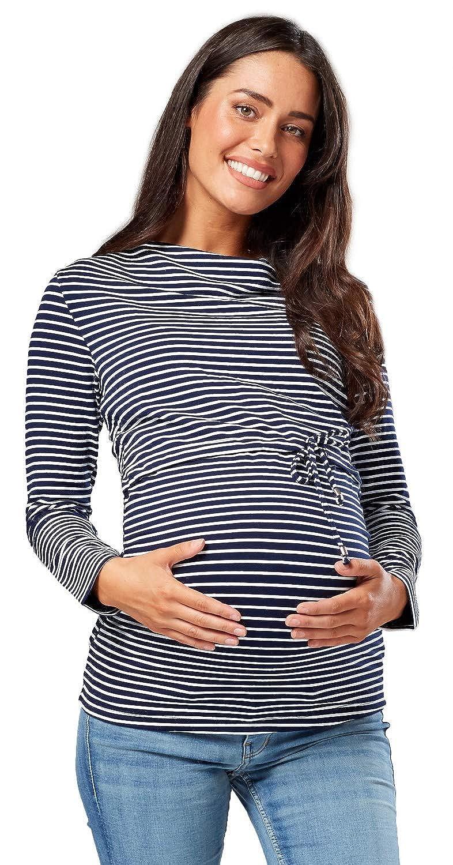 Happy Mama Mujer Top Maternidad Lactancia Cuello Barco Dise/ño Doble Capas 002p
