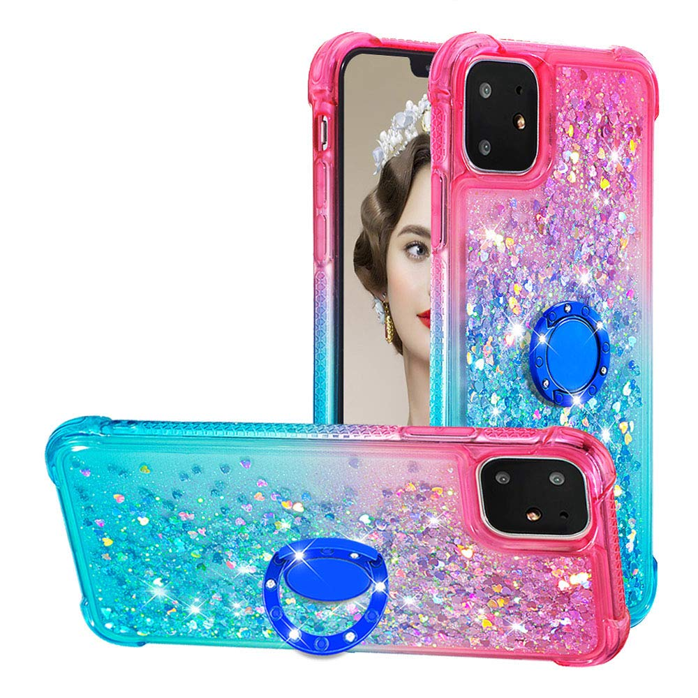 Tznzxm iPhone 11 2019 6.1'' Case, Fashion Glitter TPU Reinforced Corners Gradient Quicksand Shockproof Bling Sparkly Defender 360 Finger Kickstand Ring Protective Case for Apple iPhone 11 Pink/Mint by Tznzxm