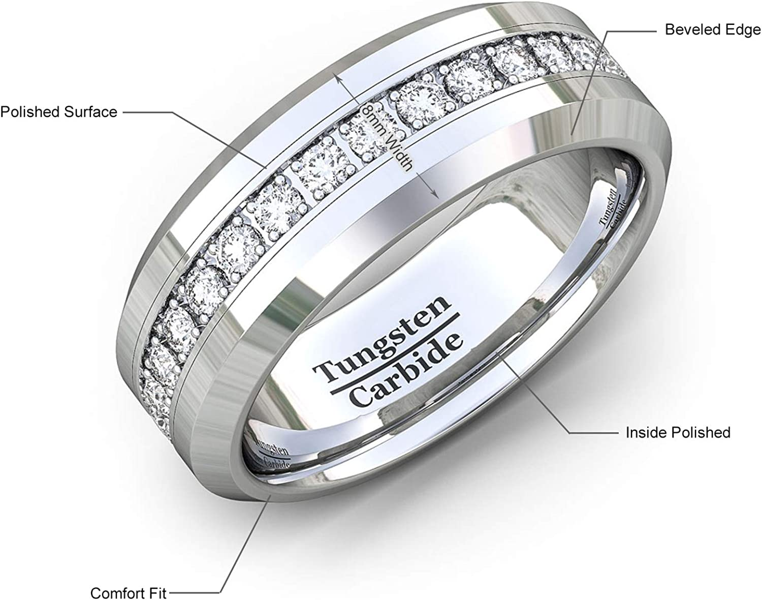 Duke Collections Mens Wedding Band 8mm Classic Tungsten Carbide Ring Stacked Cubic Zircon Polished Flat Edge Comfort Fit