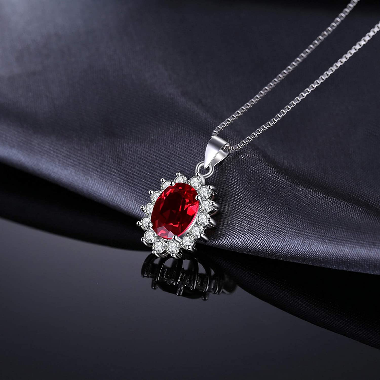 MMC Silver Necklaces Princess Diana 2.5ct Natural Garnet Womens Pendants