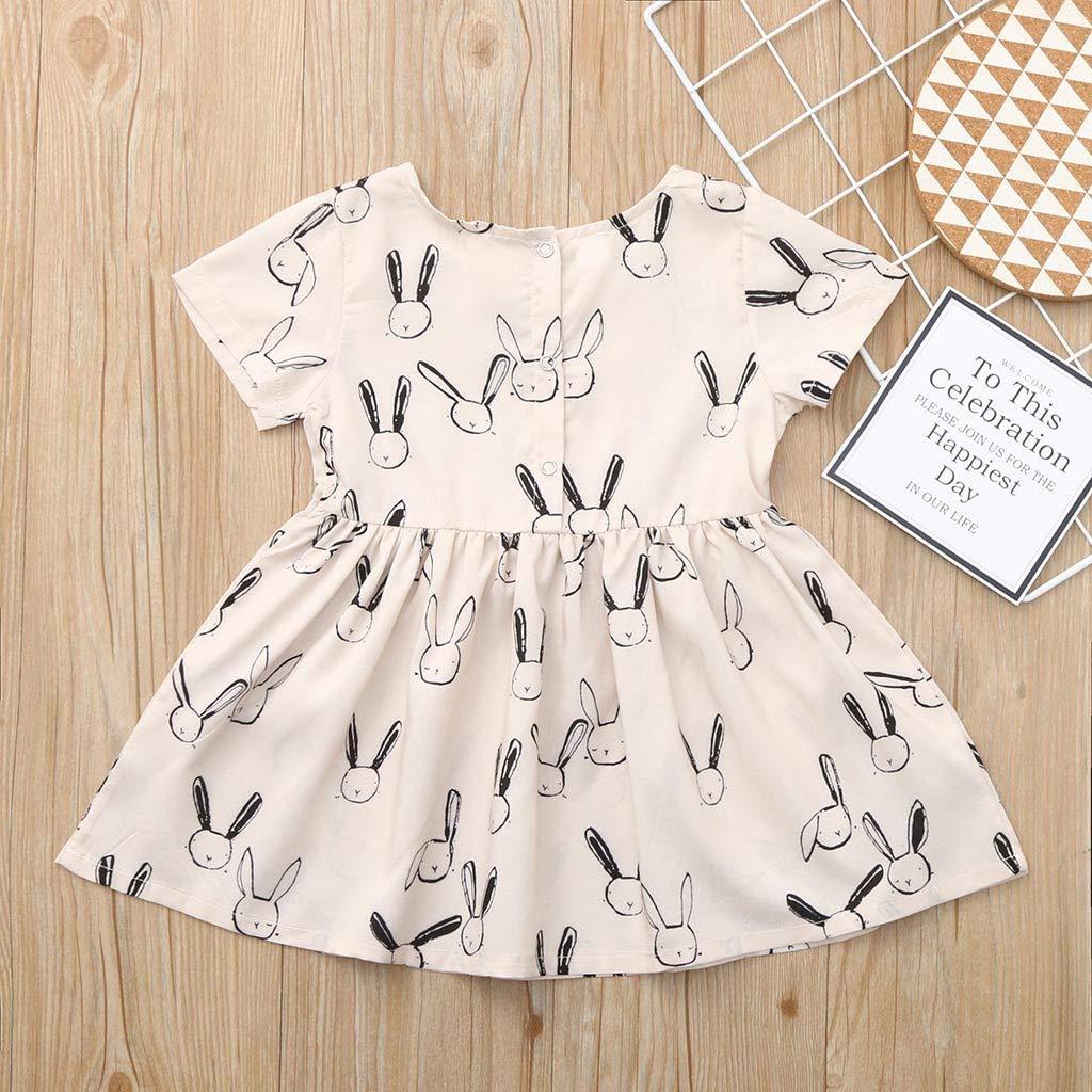 Baby Toddle Girls Summer Easter Rabbit Print Dress Casual Short Sleeve Pocket Princess Dresses
