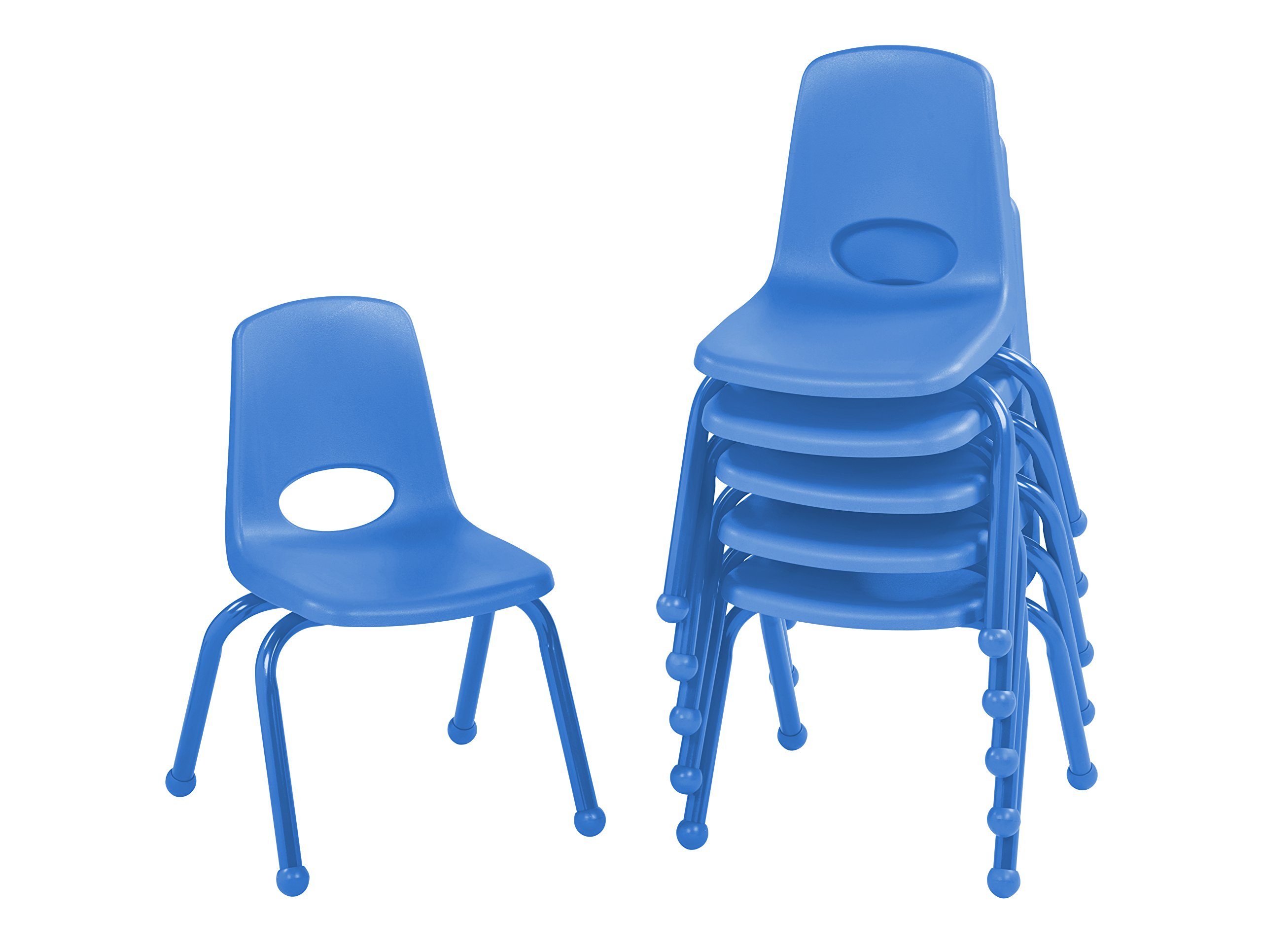 ECR4Kids 12'' School Stack Chair with Powder Coated Legs and Ball Glides, Blue (6-Pack)