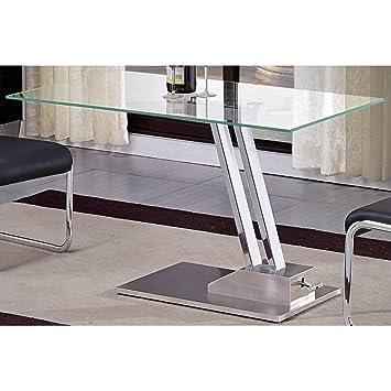 52b354931992da INSIDE Table Basse relevable Step en Verre Transparente Structure chromée