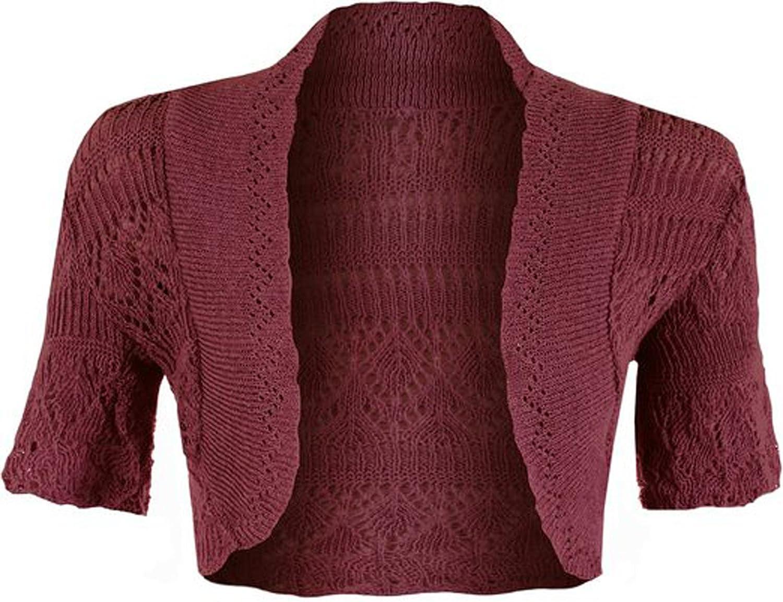 GirlzWalk ® Girls Crochet Short Sleeve Knitted Bolero Shrug Top
