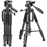 Neewer Portable 56 inches/142 centimeters Aluminum Camera Tripod With 3-Way Swivel Pan Head,Carry Bag For Camcorder Load up to 8.8 pounds/4 kg(Black)